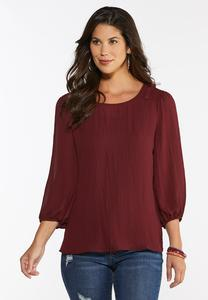 Plus Size Solid Smocked Shoulder Top