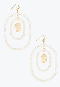 Lucite Oval Glass Earrings