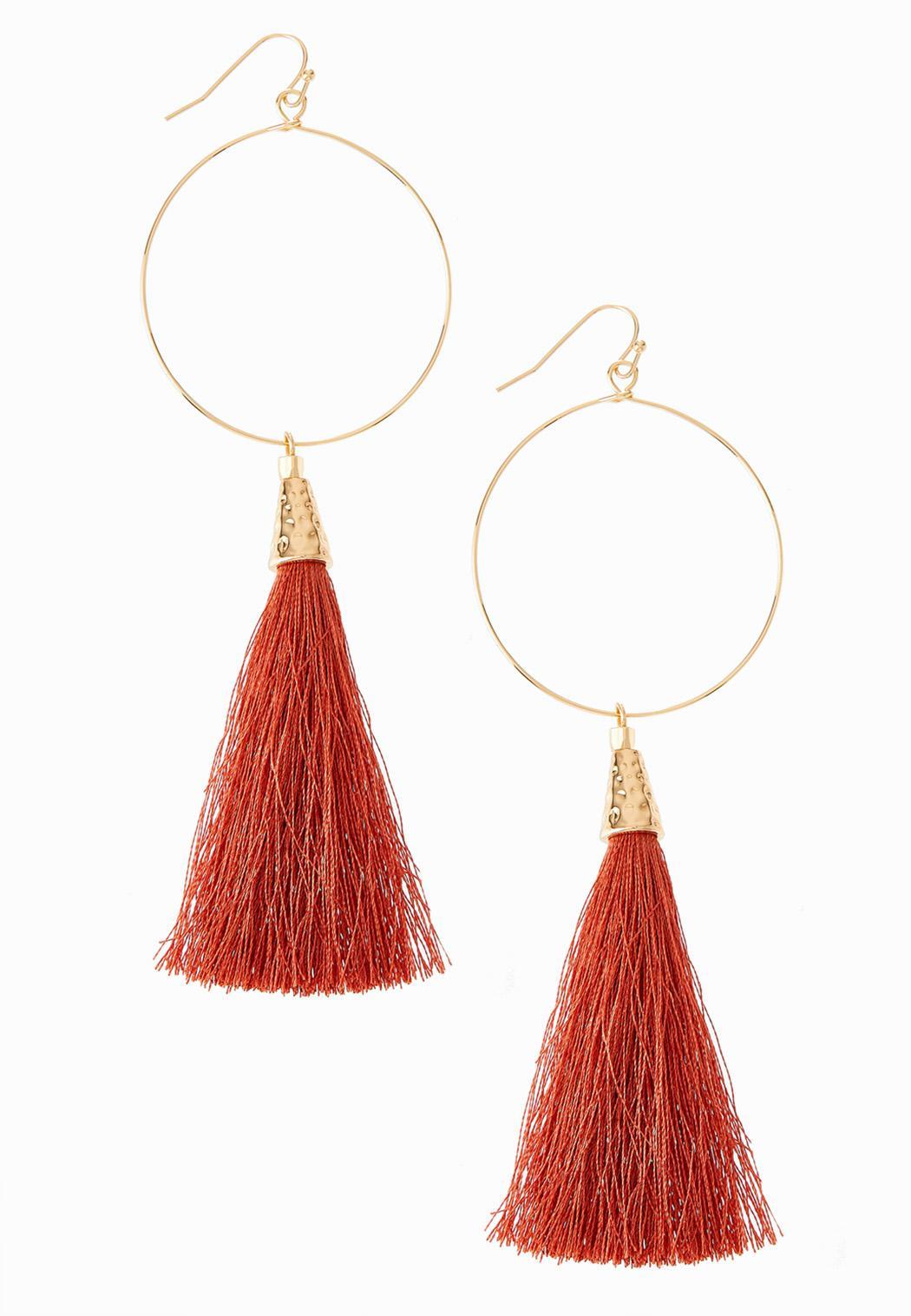Earthy Tassel Hoop Earrings