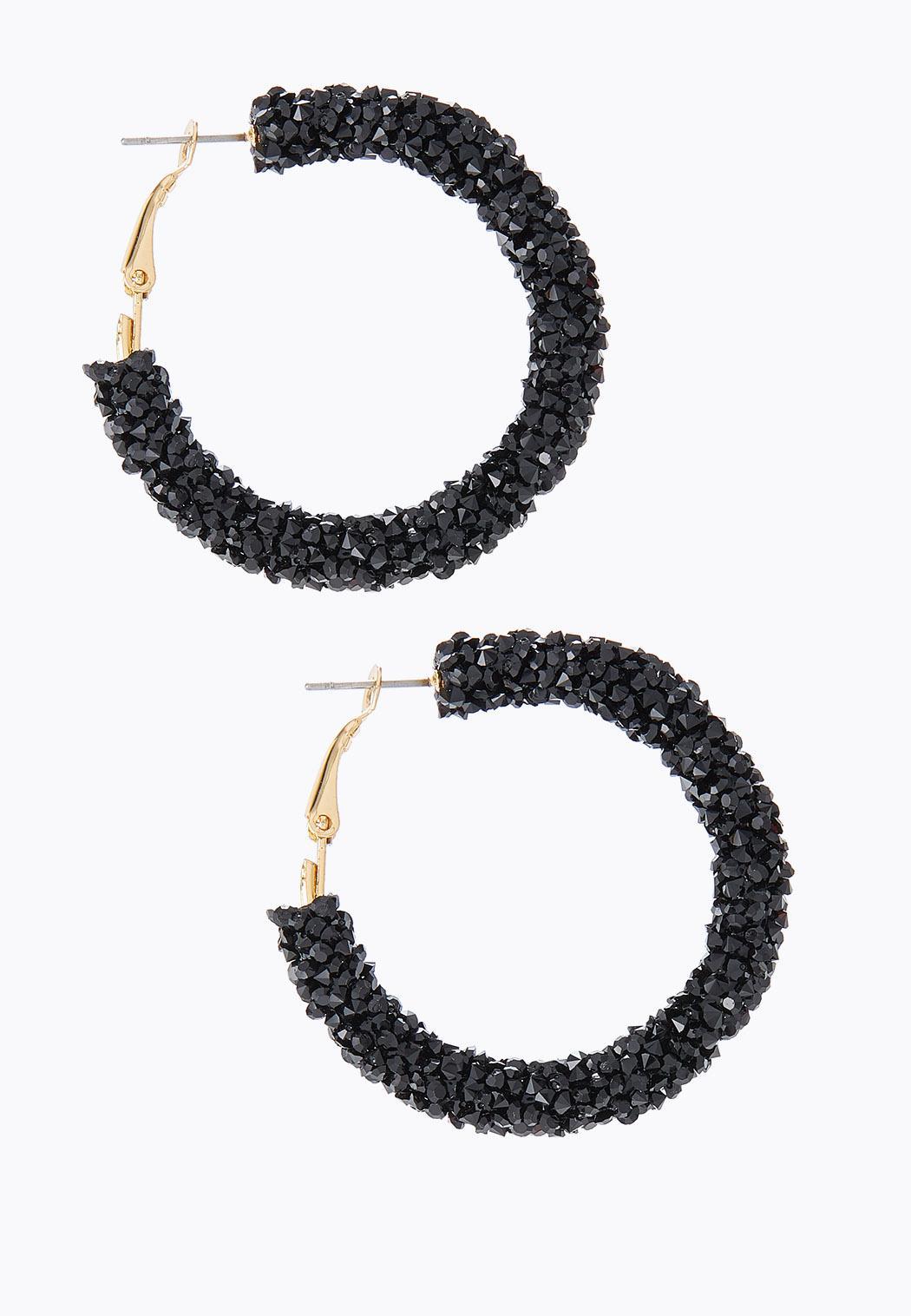 Rock Glitter Hoop Earrings