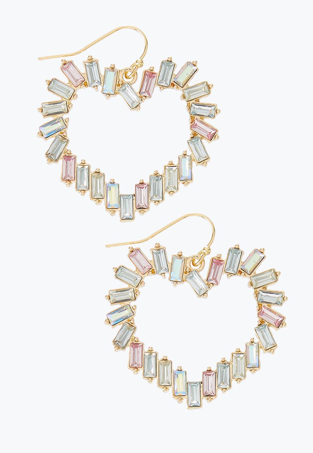 Baguette Stone Heart Earrings