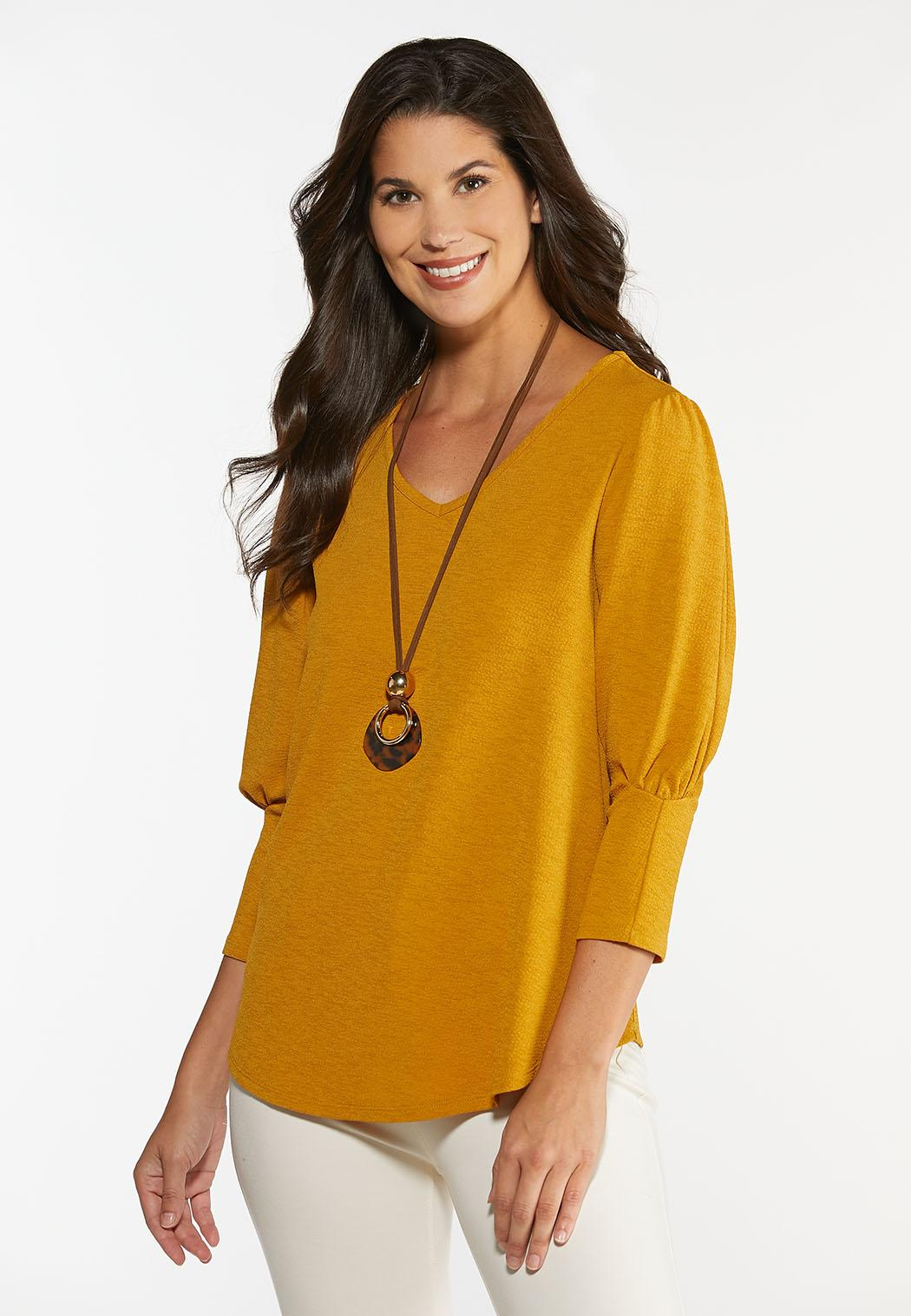 Gold Puff Sleeve Top