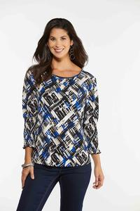 Geo Smocked Sleeve Top