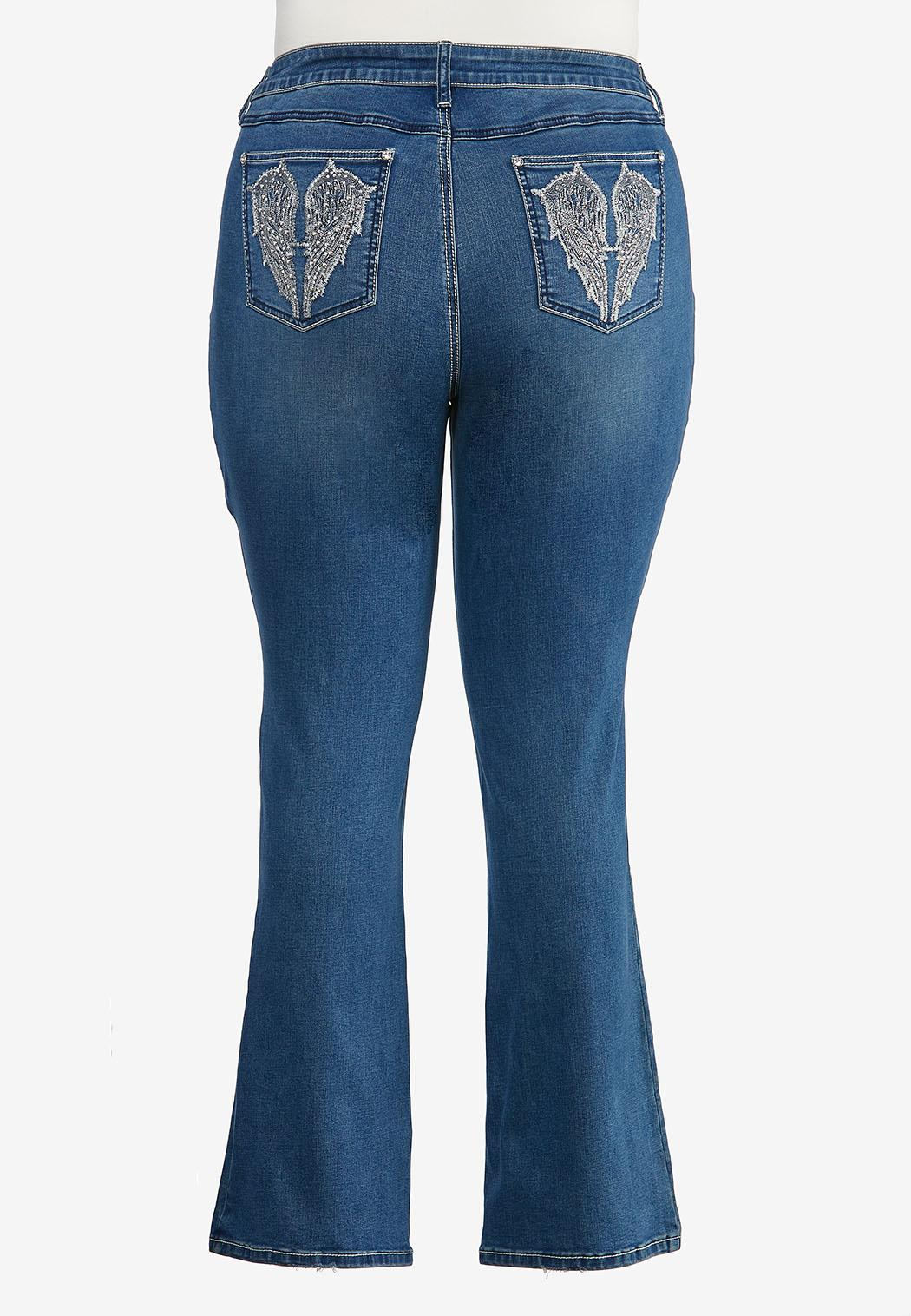 Plus Size Angel Wing Bootcut Jeans