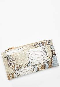 Snakeskin Double Zip Wallet