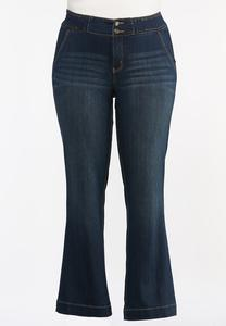 Plus Size Double Button Jeans