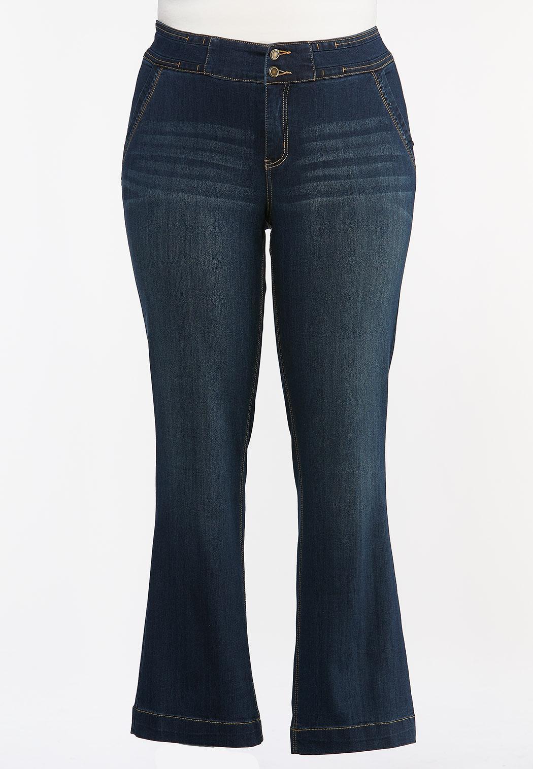 Plus Petite Double Button Jeans