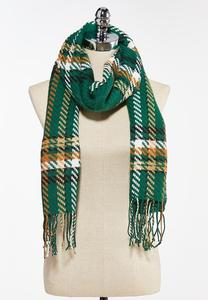 Textured Plaid Oblong Scarf