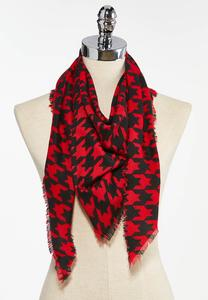 Red Houndstooth Triangle Scarf