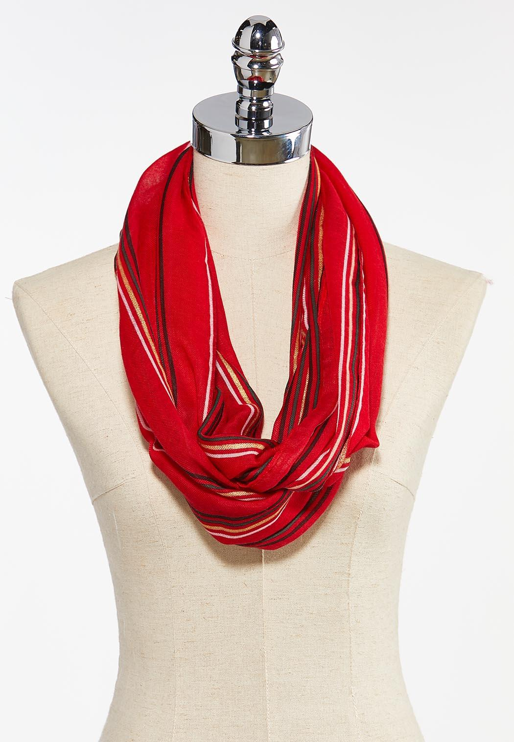 Red Striped Infinity Scarf