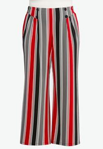 Plus Size Stripe Button Pants
