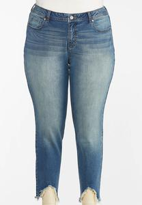 Plus Size Frayed Hem Jeggings