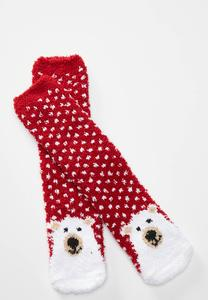 Polka Dot Polar Bear Socks