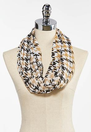Neutral Houndstooth Infinity Scarf
