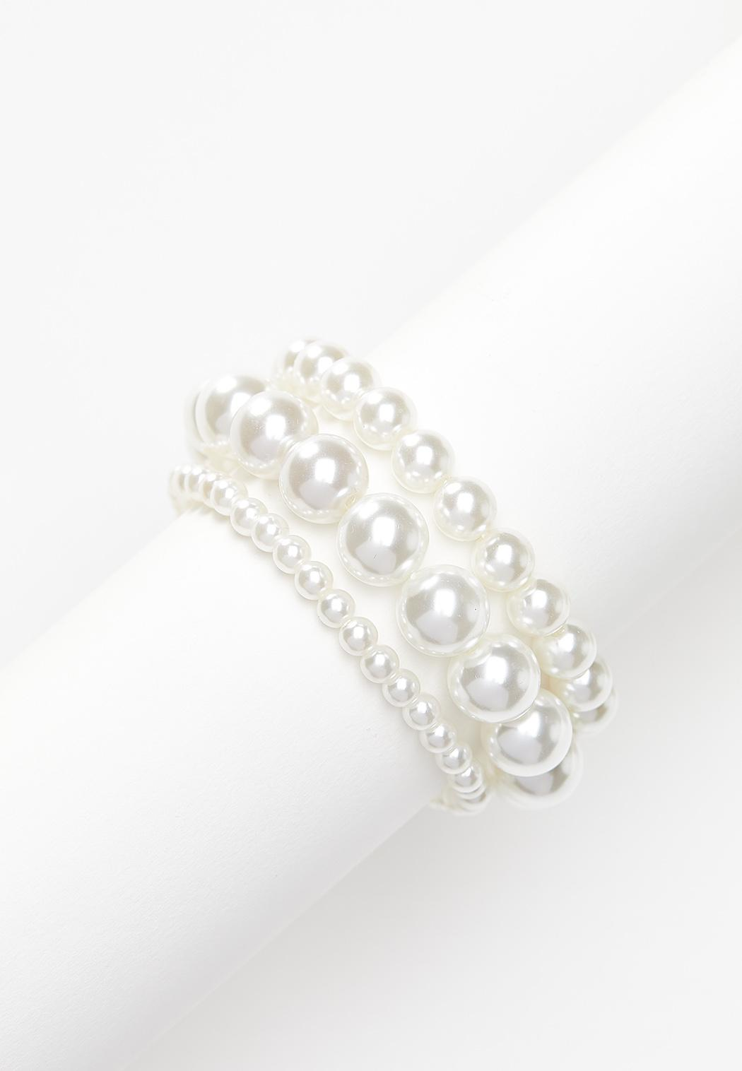 Acrylic Pearl Stretch Bracelet Set