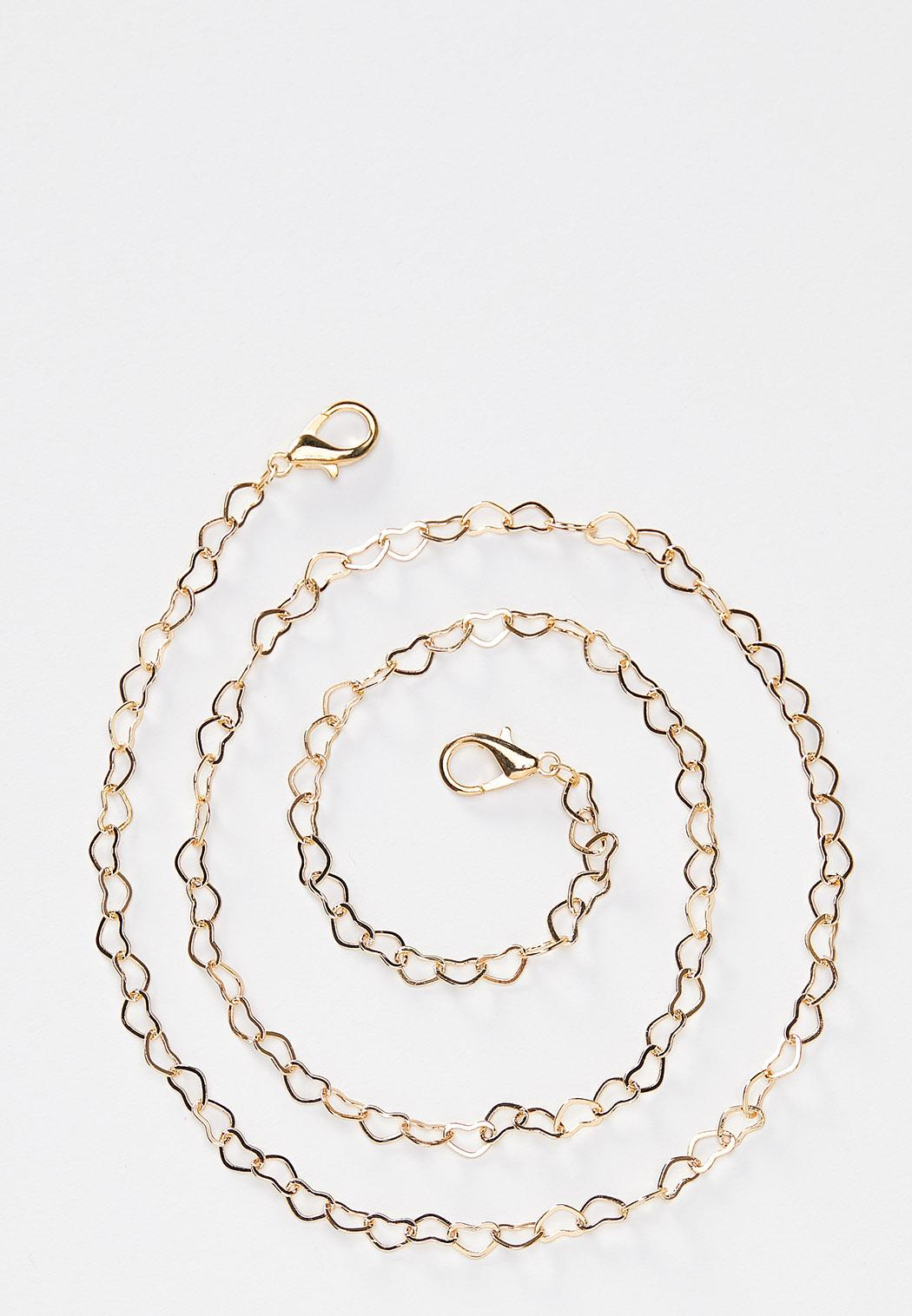 Gold Heart Face Mask Chain