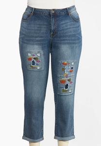 Plus Size Distressed Colored Stitch Jeans