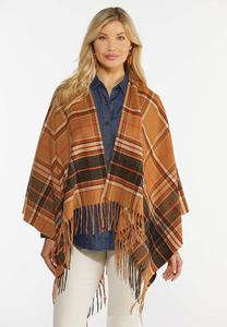 Caramel Plaid Windowpane Wrap