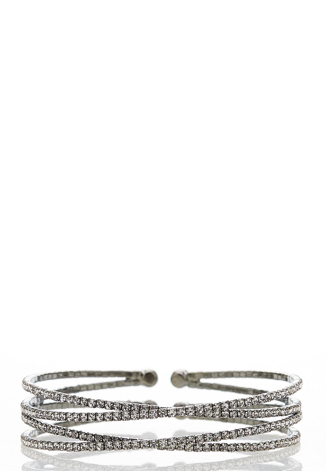 Criss Cross Rhinestone Cuff Bracelet