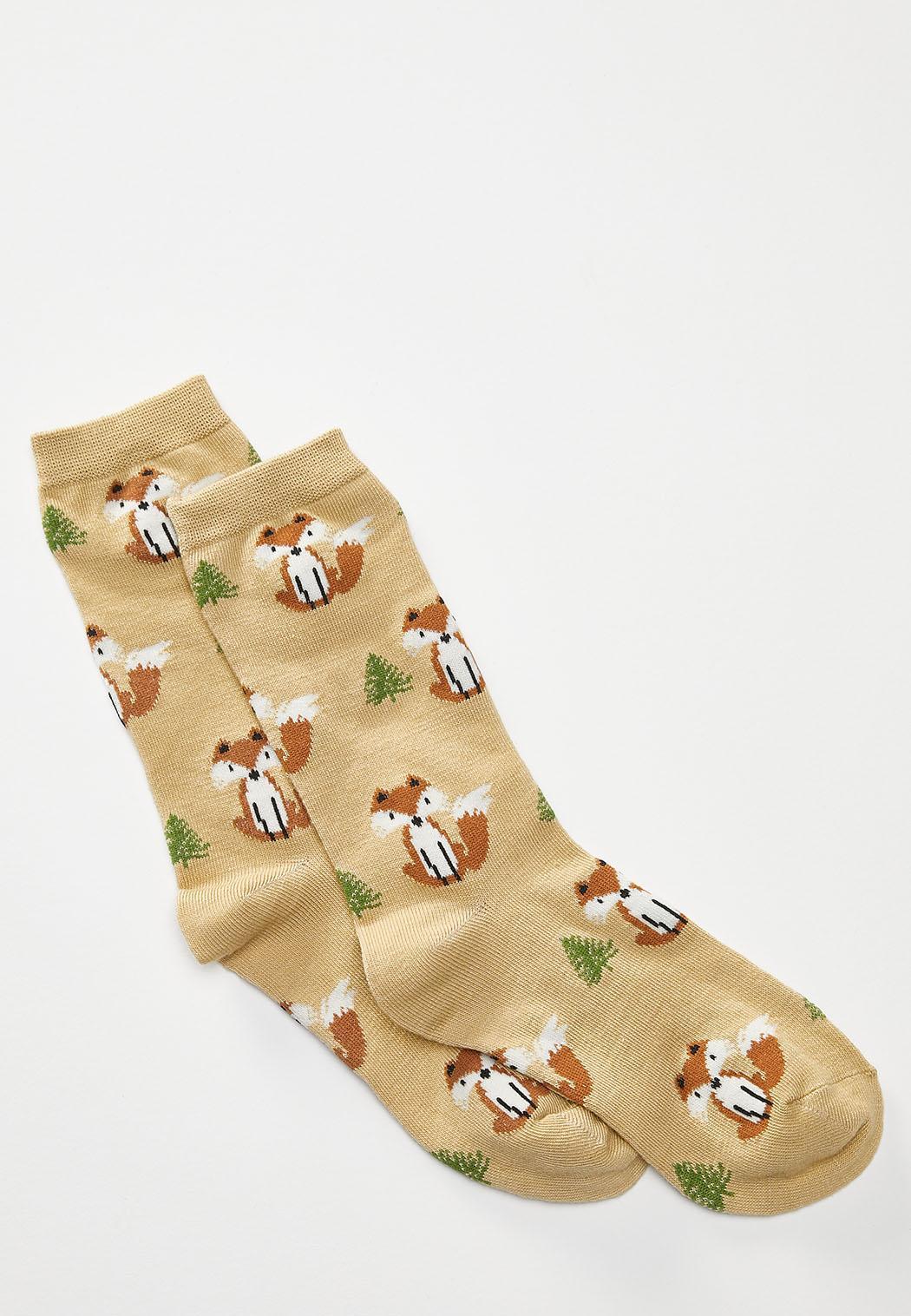 Fox And Tree Socks