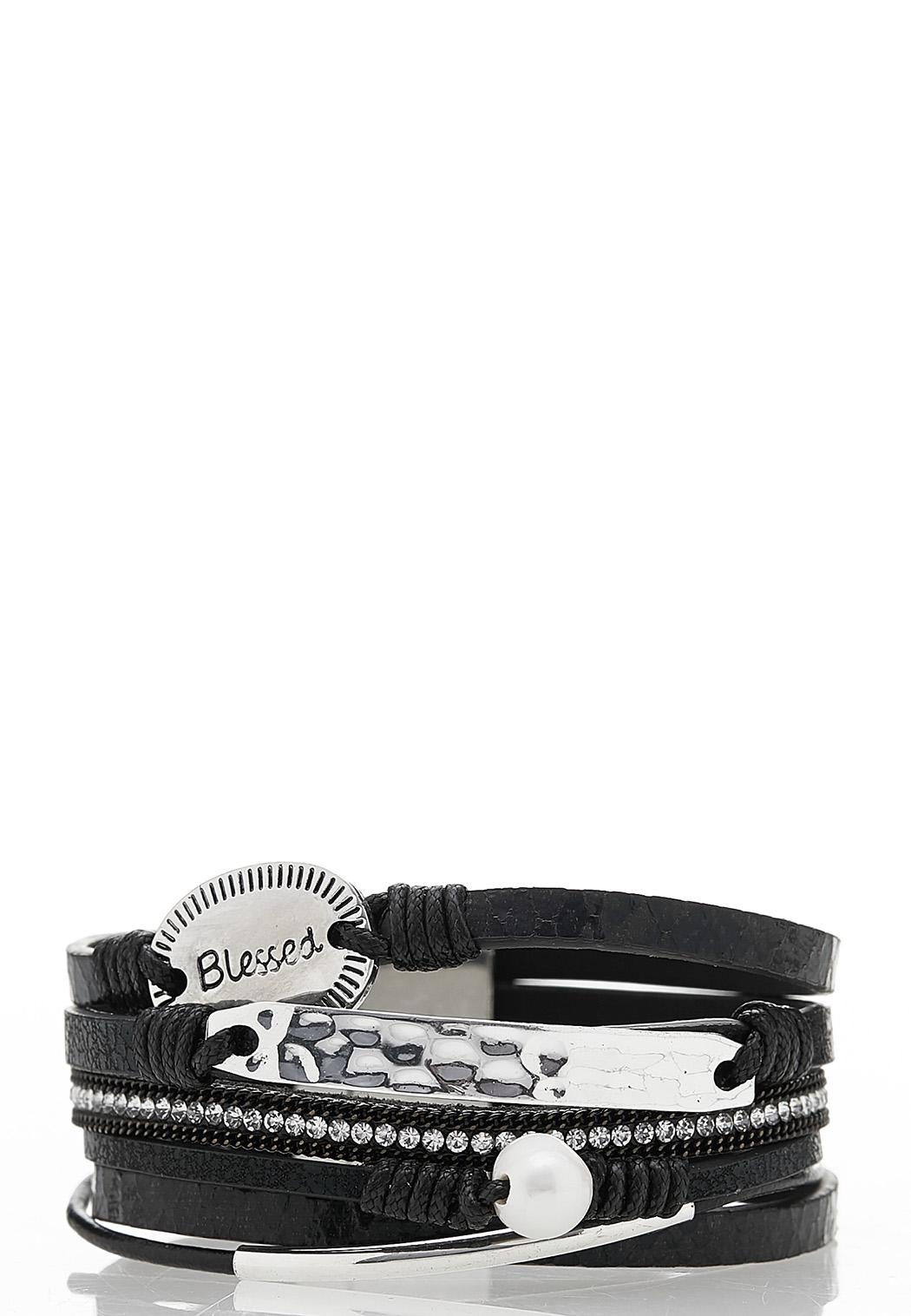 Blessed Strappy Faux Leather Bracelet