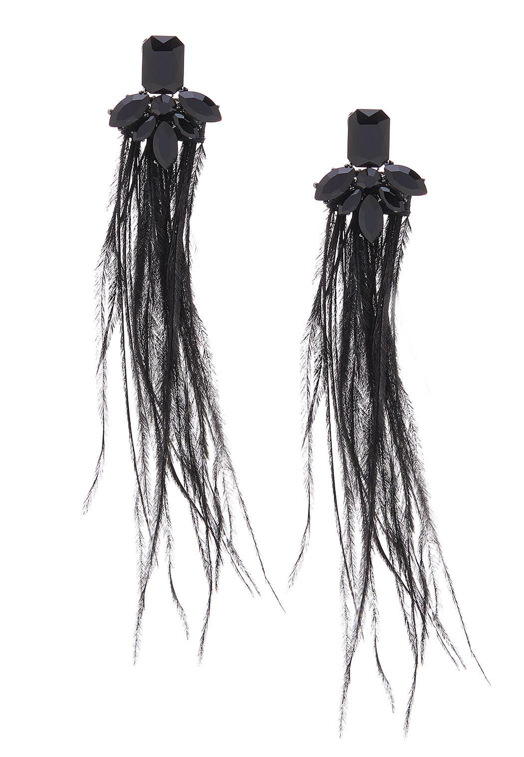 Wispy Feather Stone Earrings
