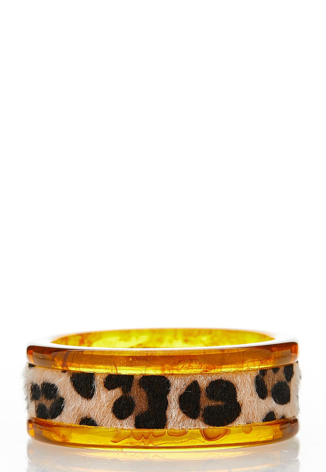Leopard Resin Bangle Bracelet