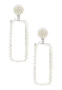 Rectangular Post Pearl Earrings