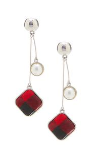 Pearl Plaid Linear Earrings