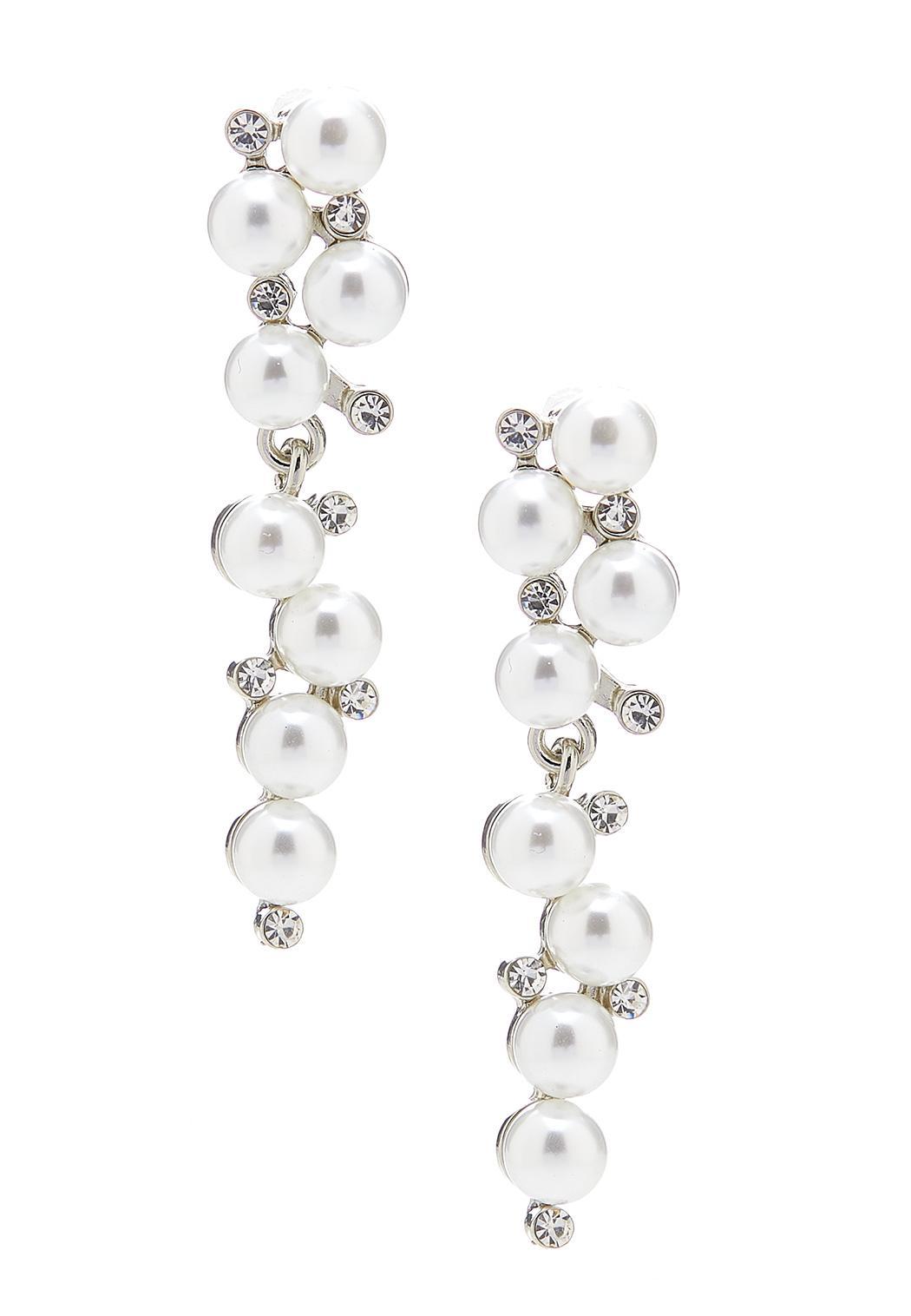 Alternating Pearl Stone Earrings