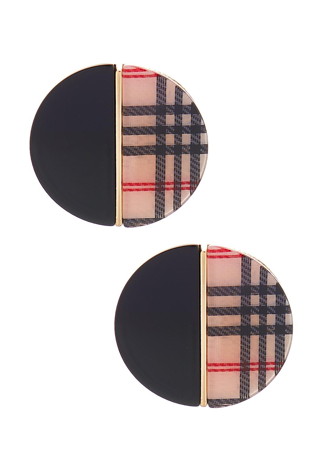 Oversized Plaid Button Earrings