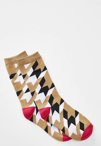 Geo Houndstooth Socks
