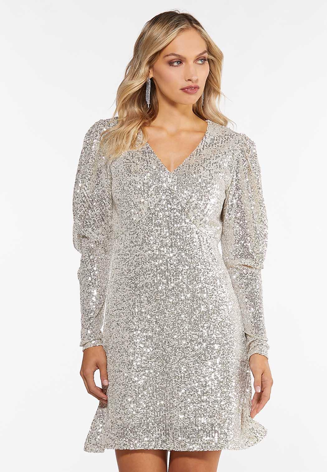 Sequin Puff Sleeve Dress