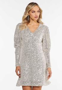 Plus Size Sequin Puff Sleeve Dress