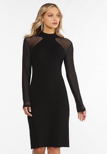 Plus Size Illusion Sleeve Sweater Dress