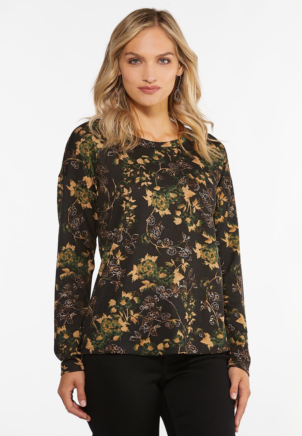 Plus Size Foiled Floral Hacci Top
