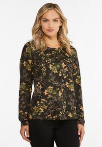 Plus Size Foiled Floral Hacci Top