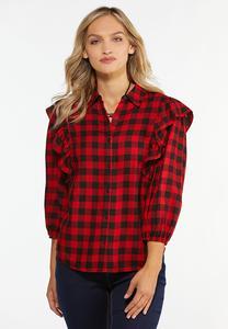 Ruffled Plaid Shirt