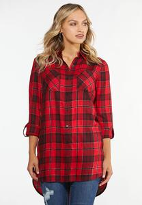 Plus Size Twinkle Red Plaid Tunic