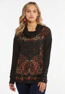 Plus Size Paisley Cowl Neck Top