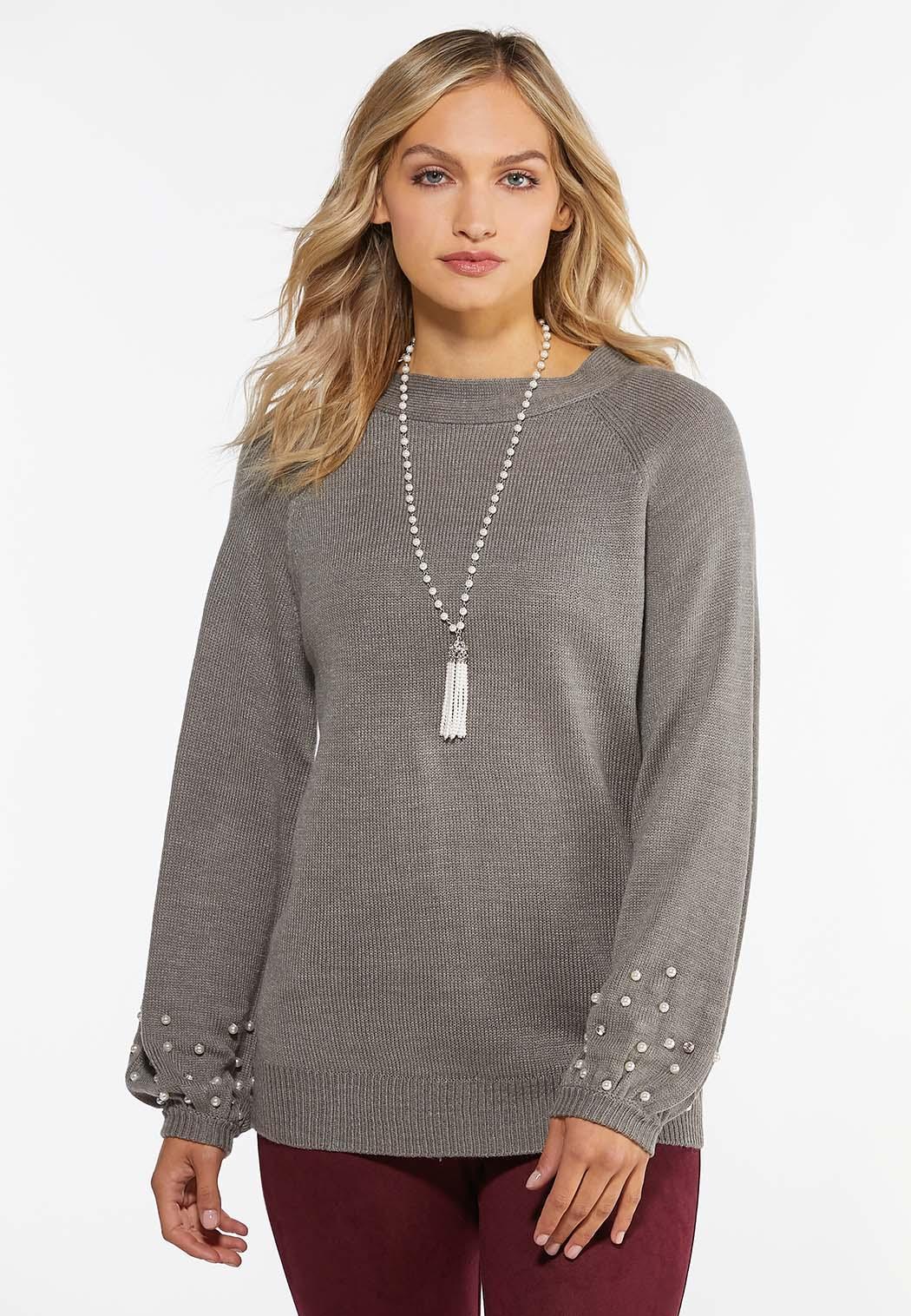 Pearl Trim Balloon Sleeve Sweater