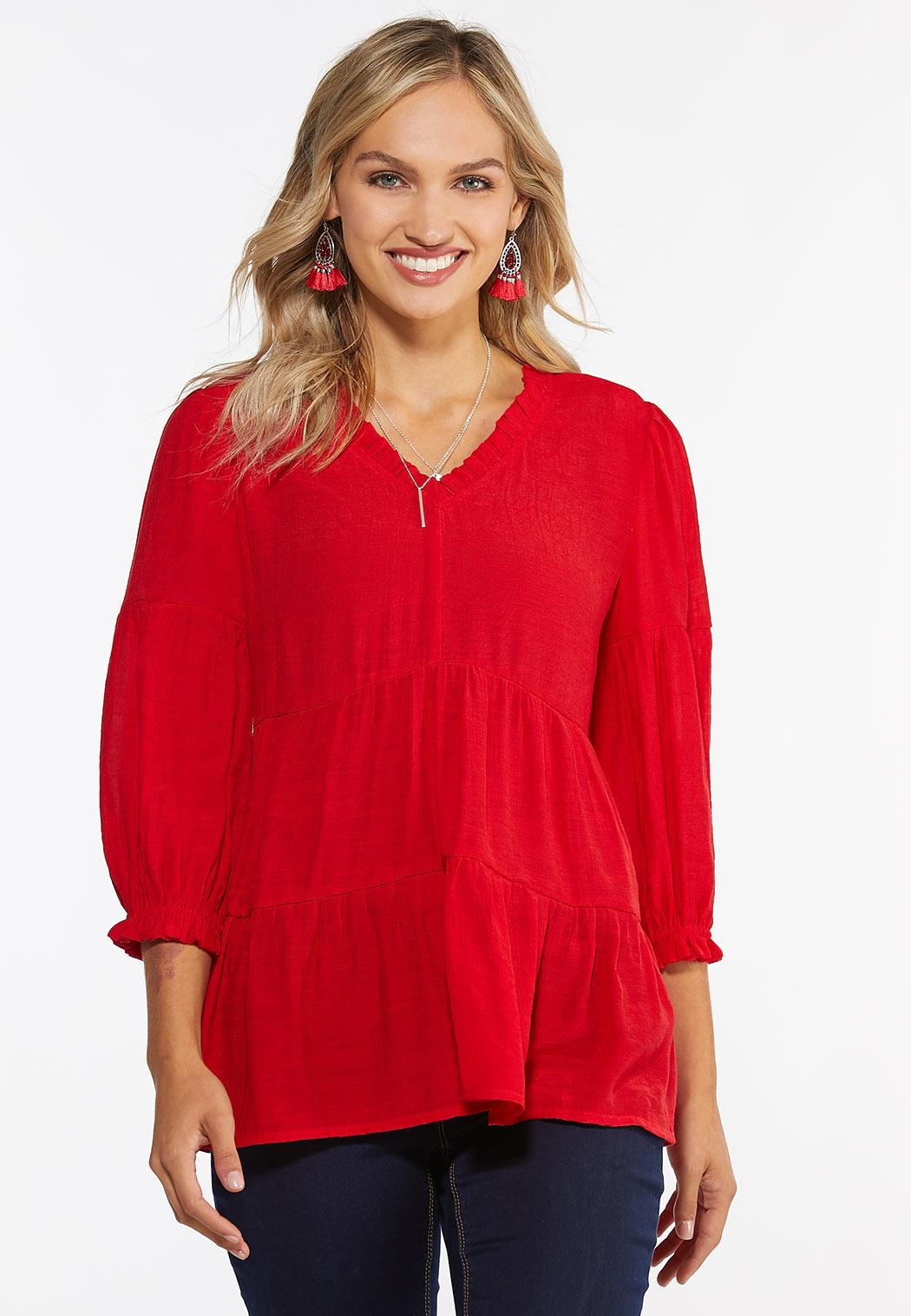 Red Tiered Babydoll Top