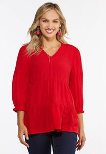 Plus Size Red Tiered Babydoll Top