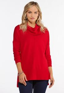 Plus Size Ribbed Cowl Neck Tunic
