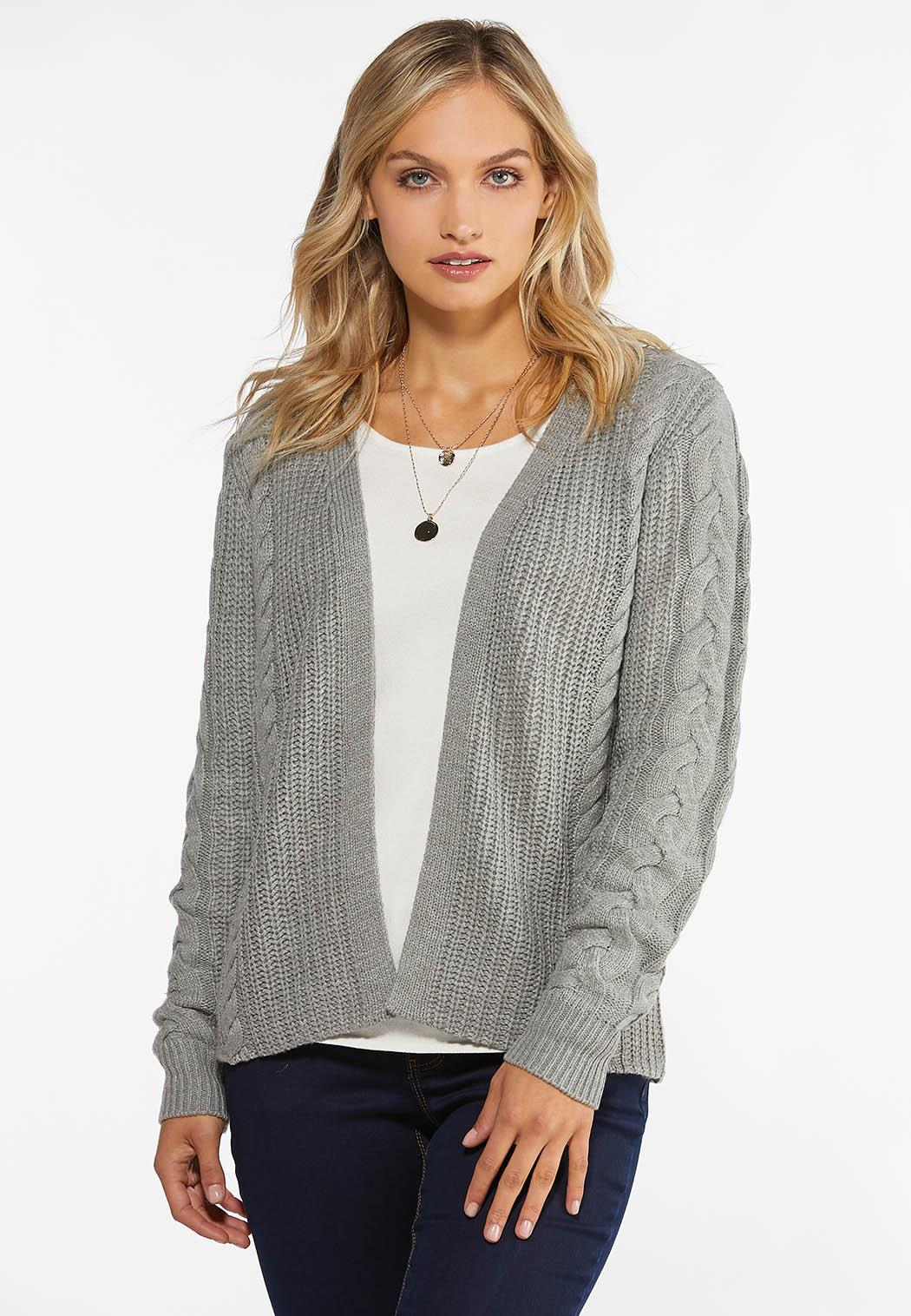 Plus Size Cable Knit Cardigan Sweater