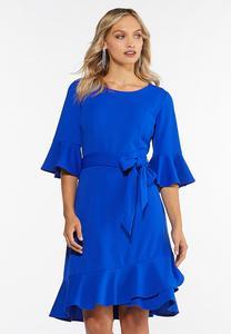 Plus Size Blue Ruffled Trim Dress