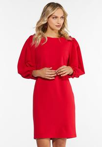 Plus Size Red Pleated Sheath Dress