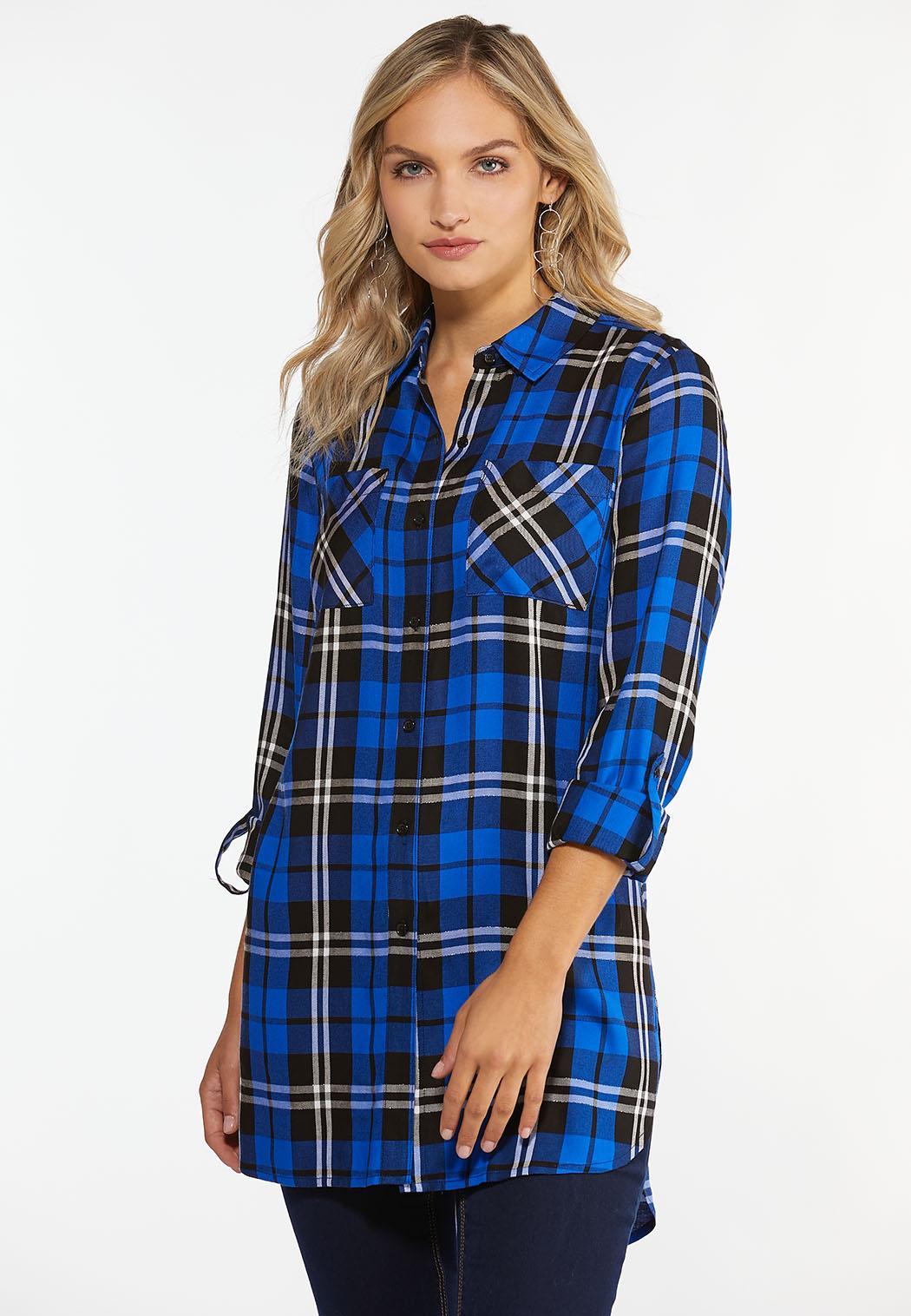 Plus Size Blue Plaid Tunic