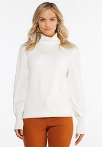 Plus Size Balloon Sleeve Turtleneck