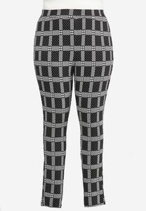 Plus Size Plaid Houndstooth Leggings